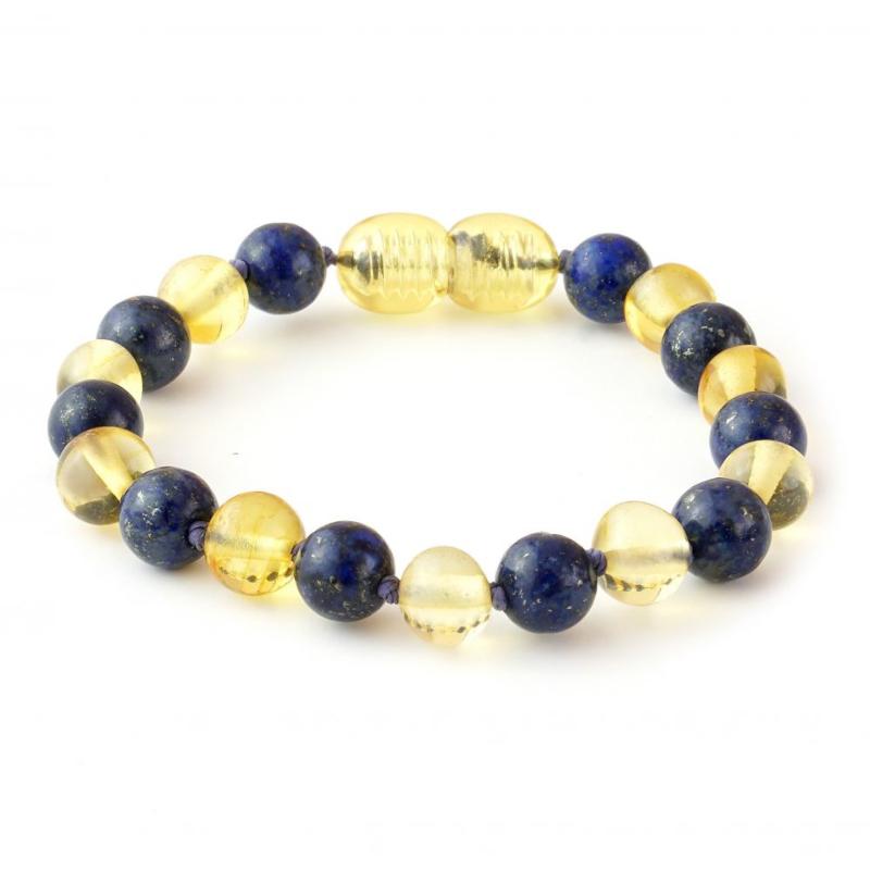 Armband Barnsteen & Lapis Lazuli