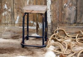 Oude schoolkruk blauw (131442)..verkocht
