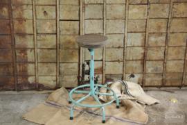 Industriële in hoogte verstelbare turquoise  krukken (134642) vast in assortiment