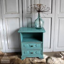 Landelijk turquoise ladekastje (131163)