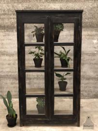Oude vitrinekast alle kanten glas (144031)