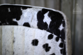 Industriële stoel met zitting van koeienhuid (132639)