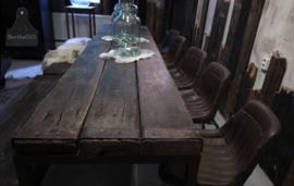 Industriële stoel met zitting van runderleer (132640)