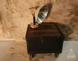 Industriële kist op wielen, salontafel (130860)..verkocht