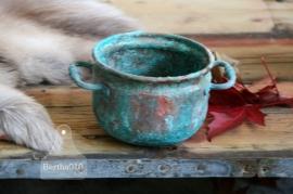 Koperen turquoise pot (130030)..verkocht