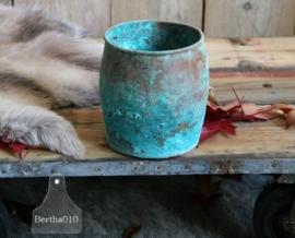 Koperen turquoise pot (130032)..verkocht