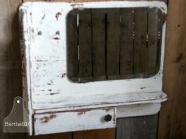 Oud landelijk gangkastje met spiegel (130046)..verkocht