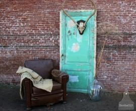Oude geleefde groene deur (131283)....verkocht
