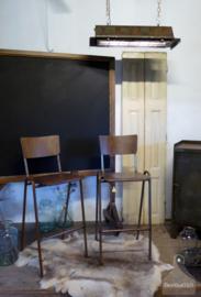 Hoge schoolstoel, barkruk verroest onderstel, vast in assortiment (134017)