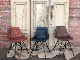 Industriële stoel met zitting van bruin runderleer (133484)