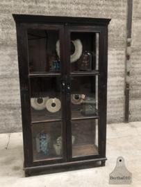 Antieke oud Engelse vitrinekast, 3 zijdes (144522)