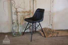 Industriële stoel met zitting van zwart runderleer (133295)