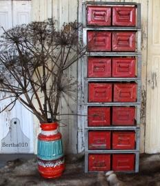 Stapelbare stellingkast met 2 kratjes rood(131477) verkocht