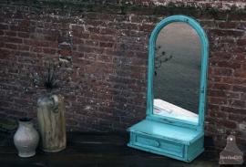 Turquoise spiegel met laatje (130907)..verkocht