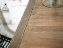 Industriële horecatafel op maat,  houten blad met balken (134525)