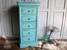 Hoog landelijk kastje turquoise (131164)..verkocht