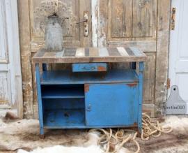 Ijzeren dressoir met sloophouten blad (131434)..verkocht