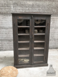 Oude houten vitrinekast grijs (144529)