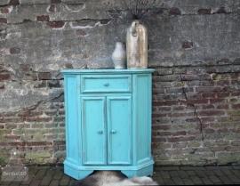 Geleefd turquoise kastje (130904)