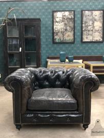 Zwart lederen shabby fauteuil (144322)