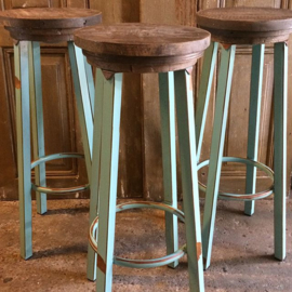 Industriële kruk turquoise , vast in assortiment