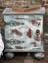 Twee geleefde nachtkastje turquoise (130264)..verkocht