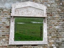 Landelijke grote facet geslepen spiegel (130298)..verkocht