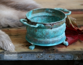 Koperen turquoise pot (130031)..verkocht