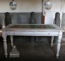 Sloophouten tafel turquoise (101133)..verkocht
