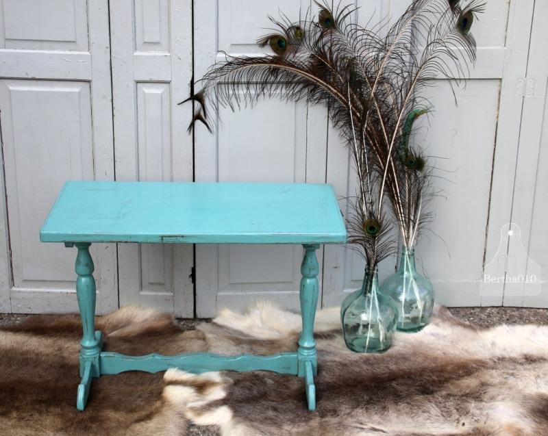 Landelijk turquoise bijzettafeltje (131189)