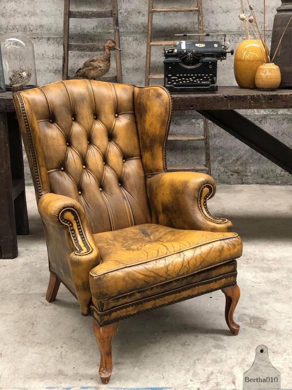 Shabby lederen stoel (144144) verkocht