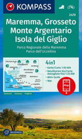 Wandelkaart Maremma Grosseto, Monte Argentario, Isola del Giglio | Kompass 2470 | 1:50.000 | ISBN 9783990443309