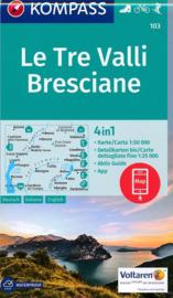 Wandelkaart  La Tre Valli - Bresciana 4 in 1 kaart | Kompass 103 | 1:50.000 | ISBN 9783990442401