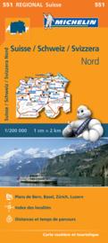 Wegenkaart Zwitserland Noord | Michelin 551  | 1:200.000 | ISBN 9782067183704