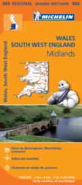 Wegenkaart Wales-The Midlands-Southwest-zuidwest | Michelin 503 | 1: 400.000 | ISBN 9782067183285
