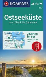 Wandelkaart Oostzee kust - van Lübeck tot Denemarken | Kompass 724 Ostseeküste | 1:50.000 | ISBN 9783990446126