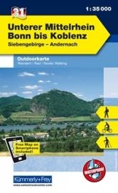 Wandelkaart Unterer Mittelrhein - Bonn tot Koblenz | Kümmerly & Frey 31 | 1:35.000 | ISBN 9783259009826