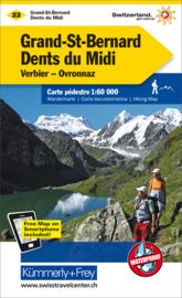 Wandelkaart Grand-St-Bernard - Dents du Midi - Les Diablerets | Kümmerly + Frey 22 | 1:60.000 | ISBN 9783259022221