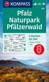 Wandelkaart Naturpark Pfälzerwald   Kompass 826   1:50.000   ISBN 9783991210757