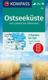 Wandelkaart Oostzee kust - van Lübeck tot Denemarken | Kompass 724 Ostseeküste | 1:50.000 | ISBN 9783991213000