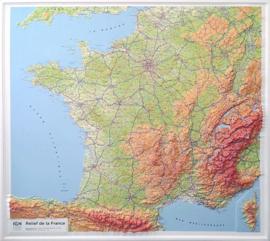 Wandkaart Frankrijk 3D met Reliëf | IGN | 1:1,16 miljoen| ISBN 9782758547884