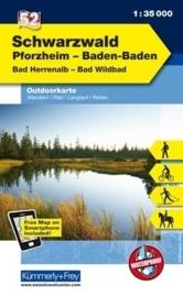 Wandelkaart Schwarzwald, Pforzheim, Baden-Baden | Kümmerly & Frey 52 | 1:35.000 | ISBN 9783259025529