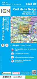 Wandelkaart Crete de la Neige, Oyonnax, Lelex | Jura |  IGN 3328 OT - IGN 3328OT | ISBN 9782758546672