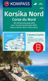 Wandelkaart - Fietskaart Corsica-Noord - Korsika Nord | Kompass 2250 | 3-delige kaartenset | ISBN 9783990449530
