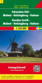 Wegenkaart Zweden nr. 1 | Freytag & Berndt Zweden Zuid - Malmo  | ISBN 9783707903188