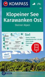 Wandelkaart Klopeiner See - Karawanken - Ost   Kompass 65   1:50.000   ISBN 9783990449400