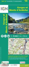 Wandelkaart - Fietskaart Monts d`Ardèche nr. 14 | 1:75.000| ISBN 9782758543961