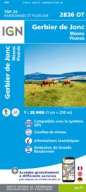 Wandelkaart Fay-sur-Lignon, le Monastier-sur-Gazeille, Mont Mézenc, Mont-Gerbier-de-Jonc    Ardeche   IGN 2836 OT - IGN 2836OT