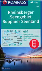 Wandelkaart Rheinsberger Seengebiet - Ruppiner Land | Kompass 743 | ISBN 9783990448519