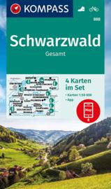 Wandelkaart Schwarzwald gesamt - 4-delige set | Kompass 888 | 1:50.000 | ISBN 9783991212690